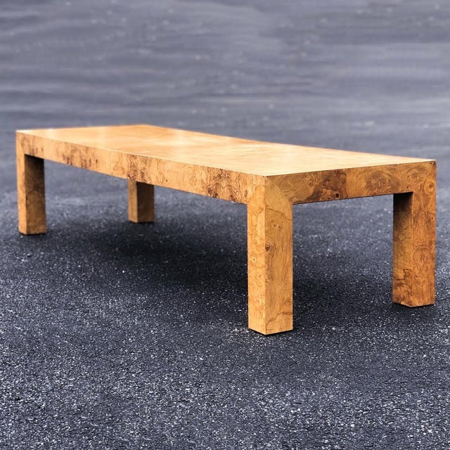 Tan Mid-Century Modern Parsons Burlwood Coffee Table For Sale - Image 8 of 8