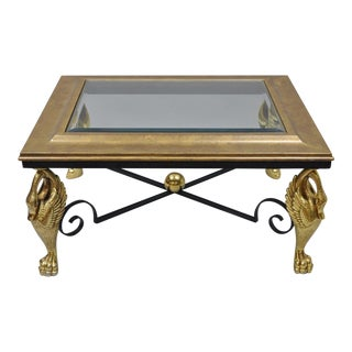 Regency Style Swan Base Gold Metal Iron and Glass Top Rectangular Coffee Table