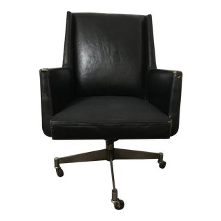 1960 Stowe & Davis Black Leather Executive Chair For Sale