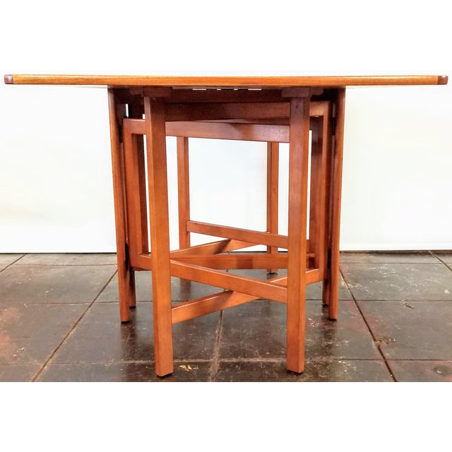 "1960s Vintage 1960s Mid-Century Norwegian Modern Bendt Winge ""Ellipse"" Style Gate-Leg Drop-Leaf Table For Sale - Image 5 of 11"