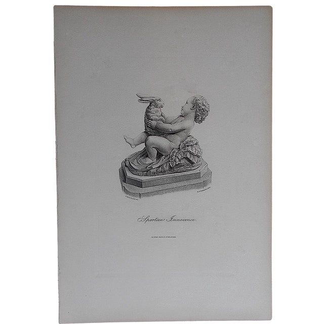 "Antique Engraving ""Sportive Innocence"" Folio Size - Image 1 of 3"