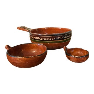 Mexican Terra Cotta Pottery Bowls - Set of 3 For Sale
