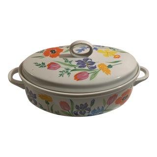 Vintage Mid Century Primavera Floral Casserole Covered Dish For Sale