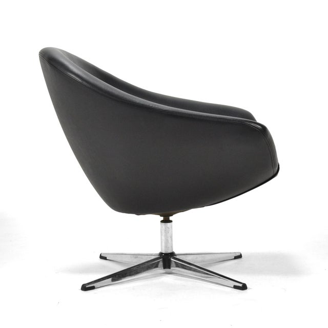 Overman Black Swivel Lounge Chair For Sale - Image 5 of 9