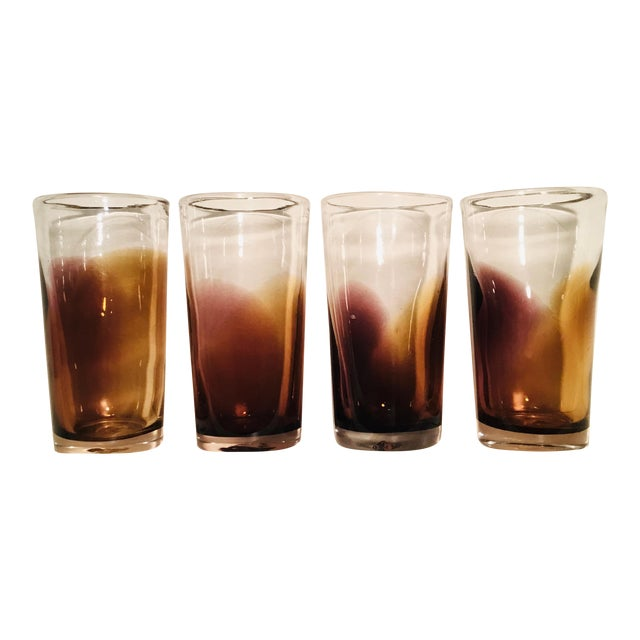 Handblown Golden Bronze Ombre Drinking Glasses - Set of 4 For Sale