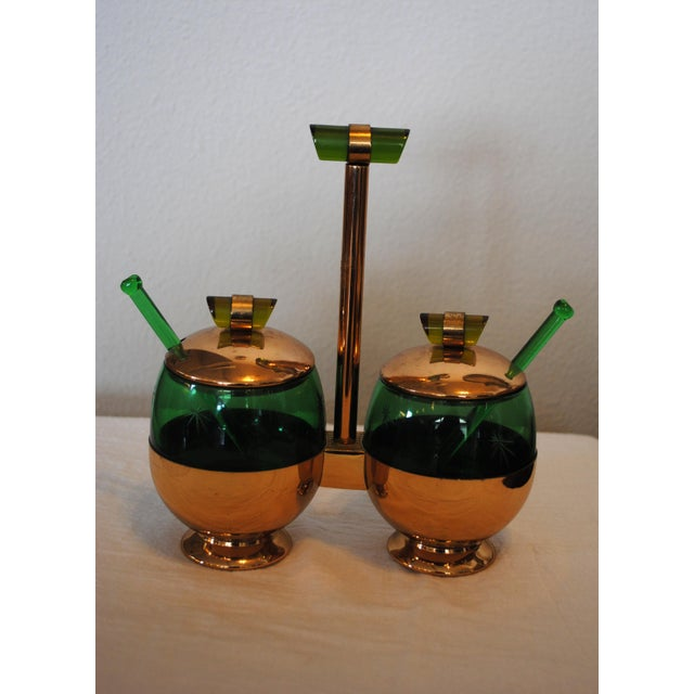 1940s Art Deco Emerald Glo Green Condiment Set For Sale - Image 6 of 6
