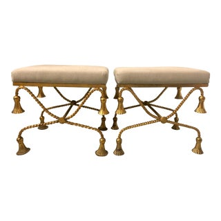 Pair of Hollywood Regency Style Gilt Metal Ottomans