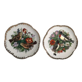 Vintage Japanese Hand Painted Bird Plates - a Pair For Sale