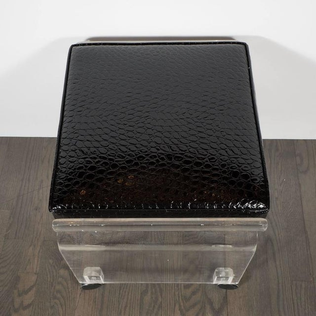 1970s Mid-Century Lucite and Black Faux Crocodile Upholstery Swivel Stool or Bench For Sale - Image 5 of 10