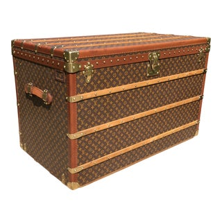 1980s French Louis Vuitton Malle Haute 110 Modern Monogram Steamer Trunk For Sale