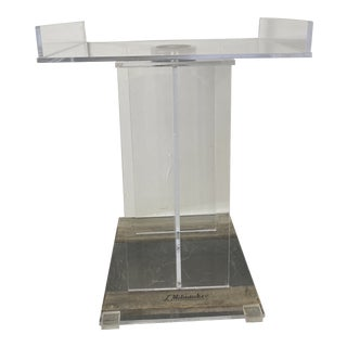 1970s Lucite Pedestal Bar With Removable Lazy Susan Tray For Sale
