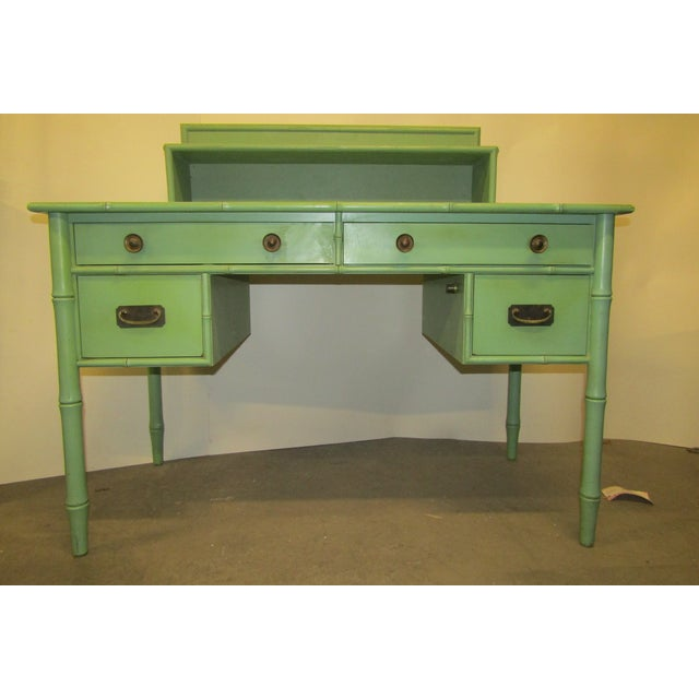 Paint Vintage Faux Bamboo Desk in Old Green Paint & Top Shelf For Sale - Image 7 of 7