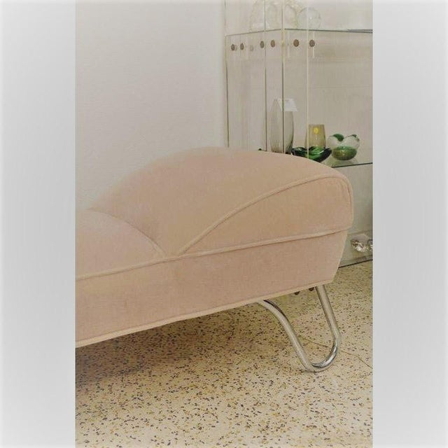 Vintage 1920s Kem Weber Chaise Streamline Moderne Style in Polished Chrome and Camel/Tan Mohair For Sale - Image 9 of 12