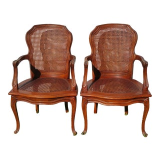 Pair of Vintage Louis XV French Provincial Country Cane Back & Seat Armchairs For Sale