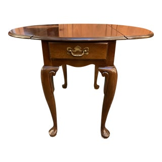 Queen Anne Style Dropleaf + Drawer Side Table For Sale