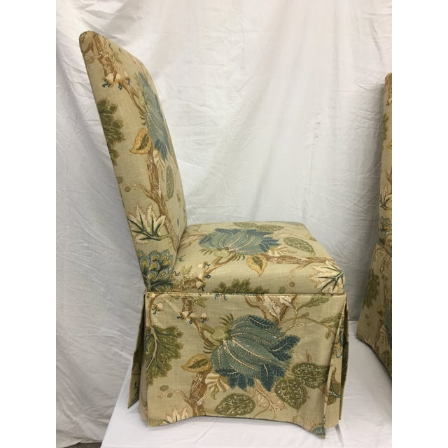 1980s 1980s Organic Modern Yellow Linen Upholstered Parsons Chairs - Set of 4 For Sale - Image 5 of 9