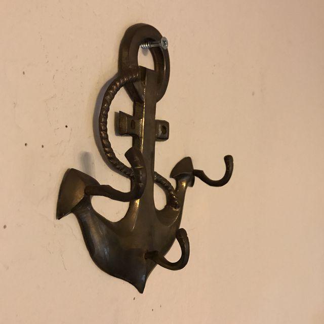 Nautical Vintage Brass Anchor Coat Hanger For Sale - Image 3 of 6