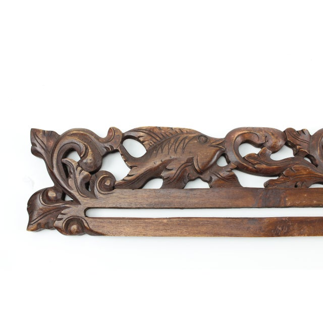 21st Century Vintage Balinese Hand Carved Wood Tapestry Hanger