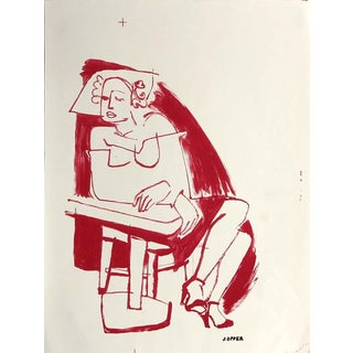 Jerry Opper 20th Century Figurative Stone Lithograph Late 1940s-Early 1950s For Sale