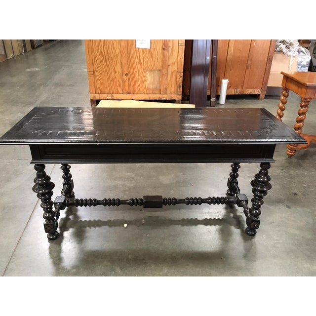 Massive Carved High Console Mahogany Finish - Image 3 of 7