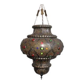 Antique Moroccan Bronze Lantern For Sale