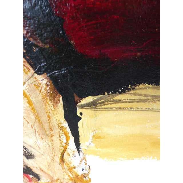 Oil on Panel Board of a Seated Woman With Headscarf, Unsigned C1965 For Sale - Image 9 of 11