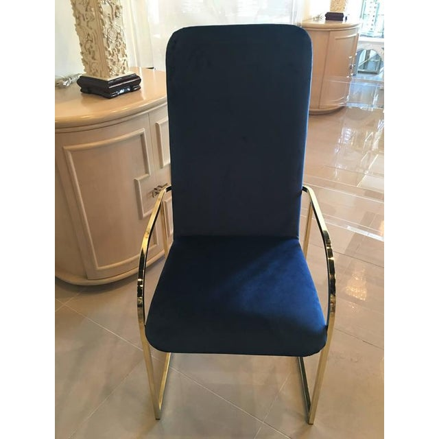 DIA Brass Navy Velvet Dining Arm Chairs - Set of 12 For Sale In West Palm - Image 6 of 9