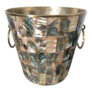 Vintage Abalone Shell Alpaca Ice Bucket