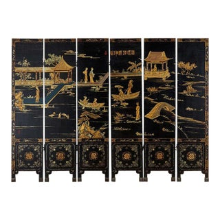 Chinese Export Six-Panel Lacquered Coromandel Style Screen For Sale