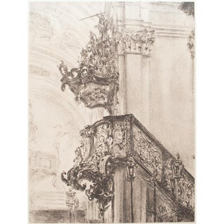 1959 Adolph Von Menzel Church Interior Lithograph From Budapest For Sale