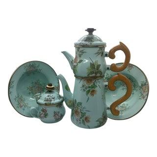 Vintage MacKenzie Childs Enamel Stacked Tea Set - Set of 8