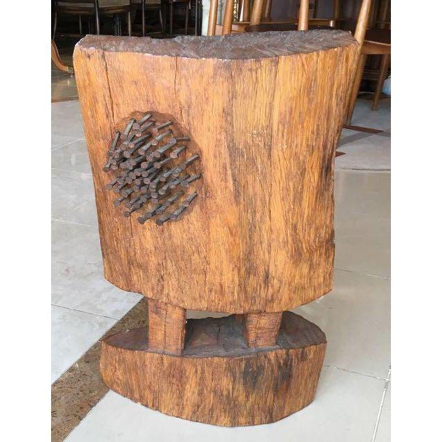 Mid-Century Brutalist Wood Sculpture - Image 4 of 8
