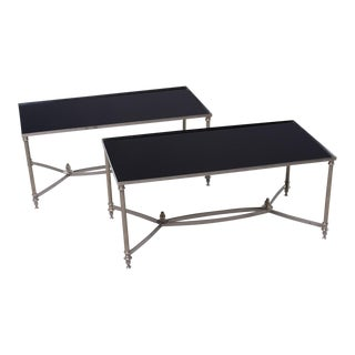 Pair French Black Glass Cocktail Tables For Sale