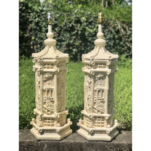Faux Bamboo Chinoiserie Style Pagoda Lamps - a Pair For Sale - Image 4 of 8