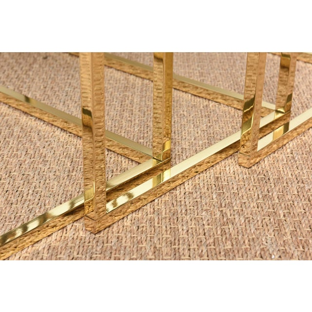 Italian Brass & Glass Greek Key Nesting Tables Final Markdown For Sale In Miami - Image 6 of 11