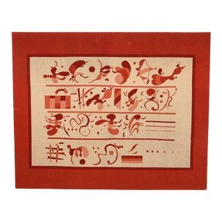 Museum-Needlepoint Art Piece Featuring Modernist Hieroglyphs For Sale