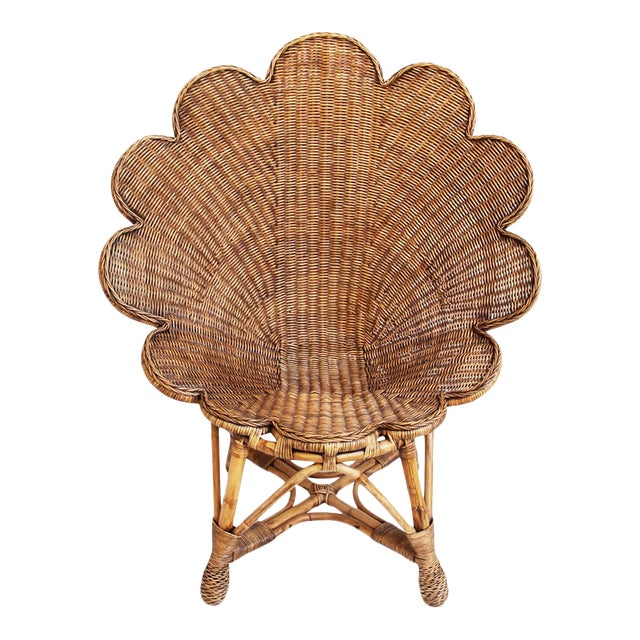 Rattan Antiqued Shell Chair For Sale