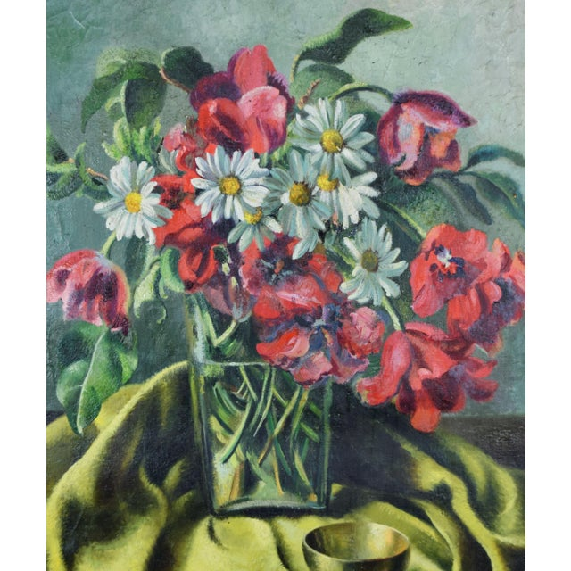 Mid-Century Modern Vintage Modernist Floral Still Life Oil Painting With Tulips & Daisies For Sale - Image 3 of 5