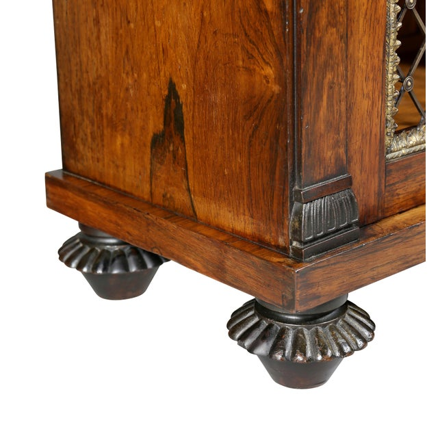 Regency Rosewood, Ebonized and Bronze Mounted Credenza or Cabinet For Sale - Image 9 of 13