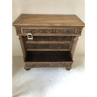 Natural Wood 5 Drawer Chest With Heavily Carved Leaf Details and Acanthus Leaf Columns Preview