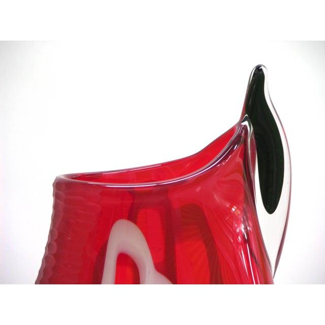 Alberto Dona 1980s Modern Sculptural Red Black White Engraved Murano Glass Vase For Sale In New York - Image 6 of 11