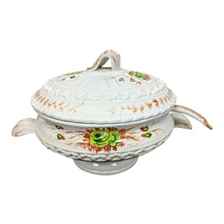 1960s Vintage Hand-Painted Italian Soup Tureen & Spoon - 2 Pieces For Sale