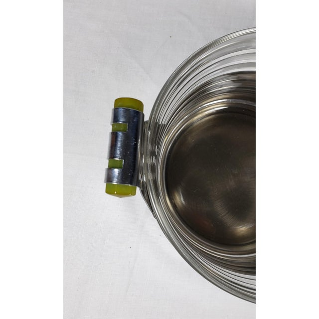 Metal Art Deco Chrome Ice Bucket With Ribbed Glass Insert and Tongs For Sale - Image 7 of 9