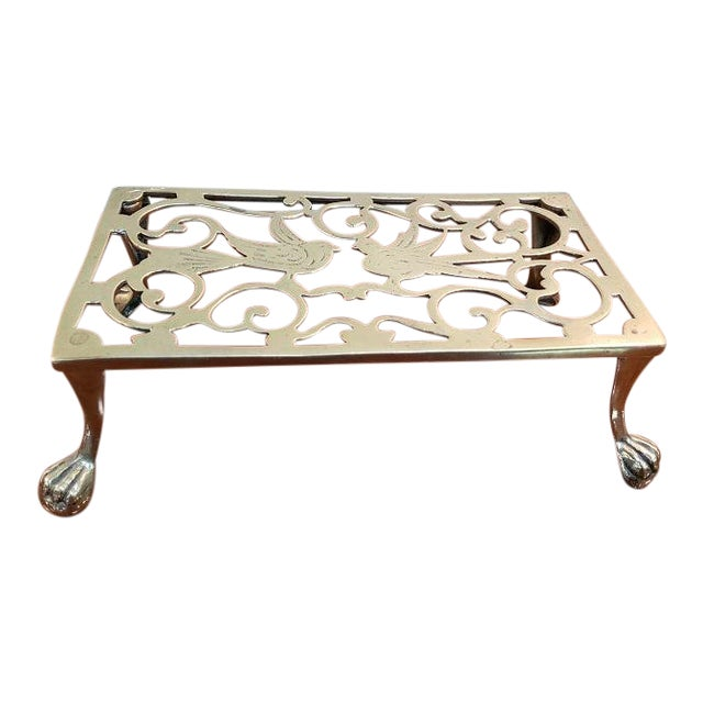 George III Style Brass Fireplace Trivet For Sale