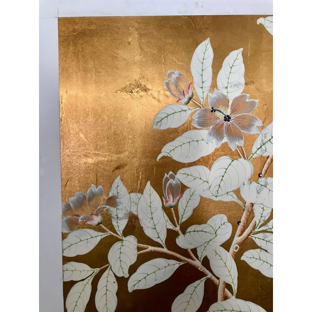 Chinoiserie Old Handpainted Wallpaper Panel, Mounted on Foam Core For Sale - Image 4 of 8