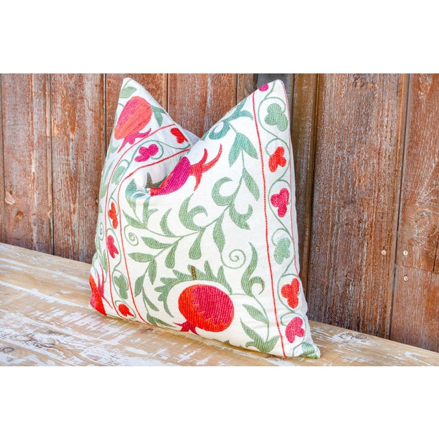 Late 20th Century Pomegranate & Green Ivy Uzbek Suzani Pillow For Sale - Image 5 of 10