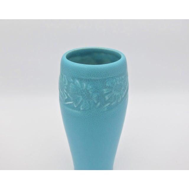 Ceramic 1930 Vintage Rookwood Pottery Arts & Crafts Blue Sunflower Vase For Sale - Image 7 of 12