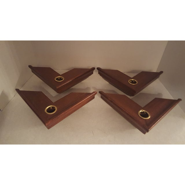 Metal Vintage Wood Wall Mount Candle Holders - Set of 4 For Sale - Image 7 of 7