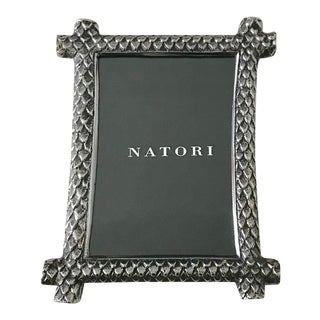 Natori Chinoiserie Dragon Scale Metal Photo Frame for 4x6 Pictures For Sale