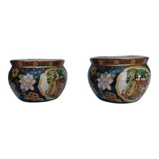 Early 20th Century Vintage Hand Painted Asian Pottery -A Pair For Sale